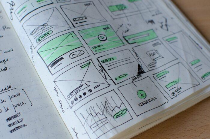 Mehrere Skizzen um eine Webseite zu erstellen